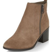 Wide Fit Light Brown Leather Block Heel Ankle Boots