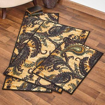 Paisley Print Decorative Rug Accent Runner Oversized Accent Latex Backing