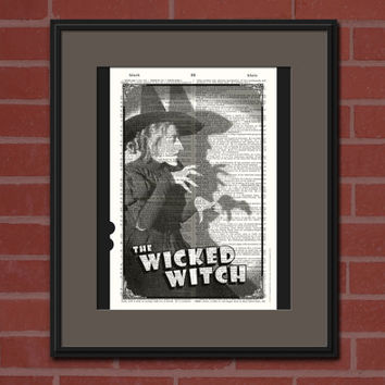 Wicked Witch Vintage Dictionary Art Print HALLOWEEN WALL ART Holiday Home Decor Wizard Of Oz Upcycled Book Art Hollywood Poster Party Decor