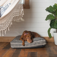 Black and White Geometric Square Dog Bed by FILLYDOG