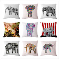 Fashion Nordic Style Houseware Home Decor Cojines Cute Elephant Printed Sofa Pillow Throw Linen Cotton Pillow Cushion Almofadas