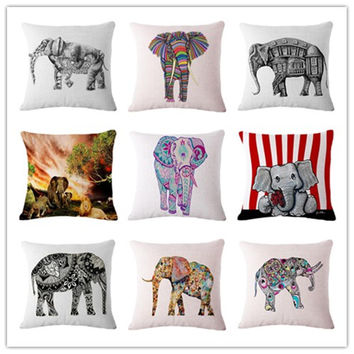 Nordic Style Houseware Home Decor Cojines Cute Elephant Printed Sofa Pillow Throw Linen Cotton Pillow Cushion Almofadas