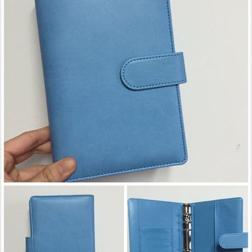 blue macaron planner cute planner organizer binder A6 personal size PU leather