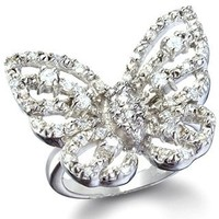Mariah's Silver Imitation Diamond Butterfly Ring - 5