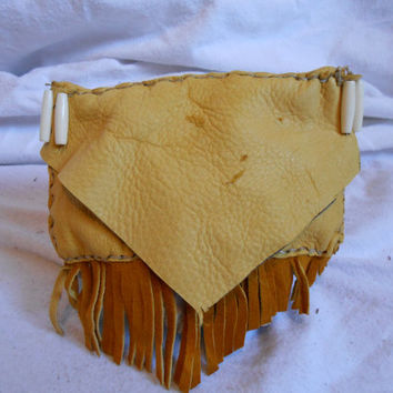 Soft Leather Golden Elk Hide Belt Bag with Fringe, Pouch, Hip Bag, Handsewn Native American, Handmade by Oglala Lakota