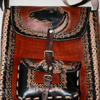 Handcrafted Leather Purse Crossbody Purse Engraved Leather Bag Nahuatl Art Horse Art Eagle Art Rustic Leather Bag Hippie Purse Size XL