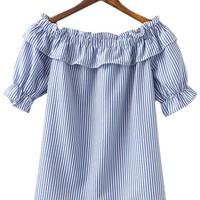 Blue White Stripe Short Sleeve Ruffle Boat Neck Blouse
