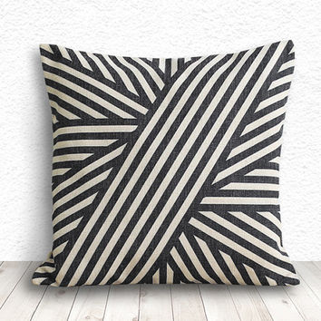 Pillow Cover, Geometric Pillow, Geometric Pillow Cover, Linen Pillow Cover 18x18 - Printed Geometric - 110