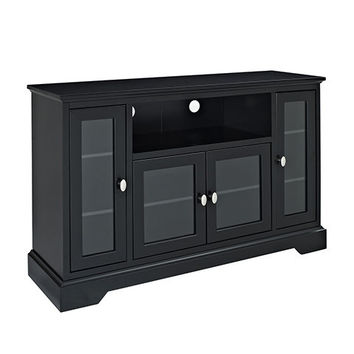 Enticing Style Wood Highboy Style Tall TV Stand - Black