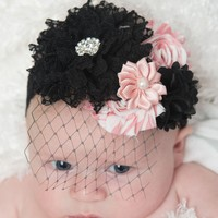 Black flower Headband - bridal veil headband