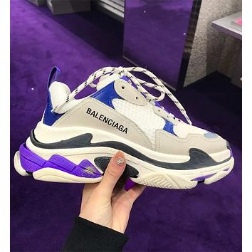 Balenciaga Triple S Low Top Sneaker Women Men Classic Shoes white Purple