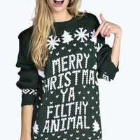 Eva Merry Christmas Ya Filthy Animal Jumper