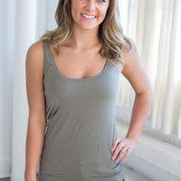 Perfect Touch Solid Tank - Olive