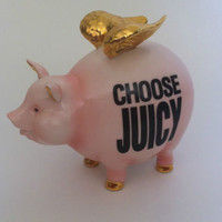 "Juicy Couture ""Choose Juicy"" Pig with Gold Wings Piggy Bank *RARE*"