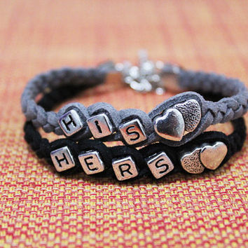 Couples bracelet,His and Hers bracelet,Boyfriend girlfriend jewelry,Anniversary gifts