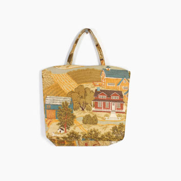 Vintage 60s NOVELTY Print PURSE / 1960s Cotton FARMYARD Pastoral Scenes Print Handbag