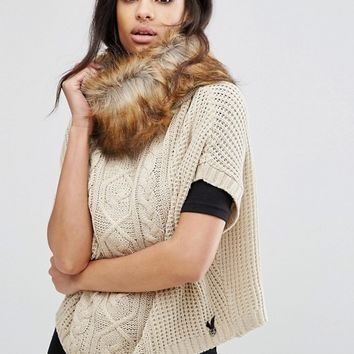 Lipsy Cable Knit Poncho With Faux Fur Trim at asos.com