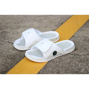 1a35e5a7e2dae Air Jordan Hydro 13 Retro Triple White Sandals Slides Slippers