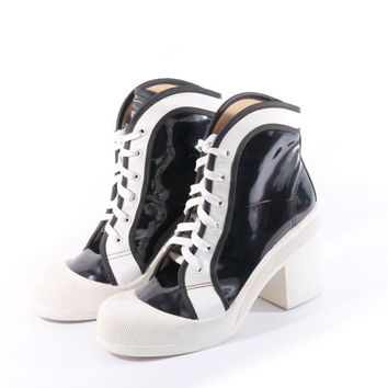 90s Vintage Patent Vegan Leather Platform Boots Black White Shiny Chunky Club Sporty Spice Girls Sneakers Womens Size UK 6.5 EK 4.5 EUR 37