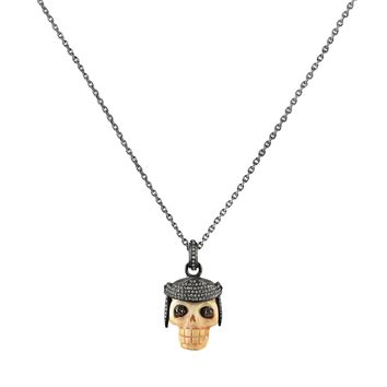 1.25ct Diamonds in Black Rhodium 925 Sterling Silver Roman Helmet Bone Skull Pendant Necklace