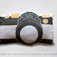 Camera Pillow in Black, White and Gold by Yellow Heart Art
