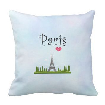 Heart Paris with Eiffel Tower Throw Pillow