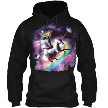 Space Cat Riding Unicorn - Laser Tacos And Rainbow  Pullover Hoodie 8 oz