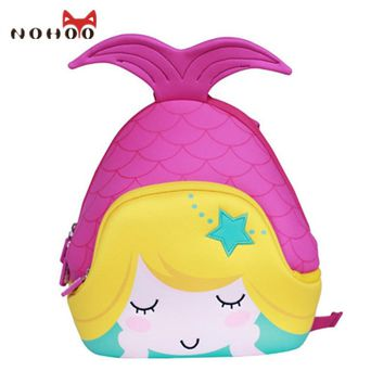 NOHOO Cartoon Mermaid Children School Bags Cute Waterproof School Backpack for Girls Toddler Book Bag Kindergarten Rucksacks