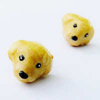 Miniature Golden Retriever Pup Post Earrings Studs (Forest)