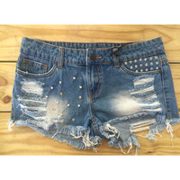 Blue Jean Distressed Bling Shorts