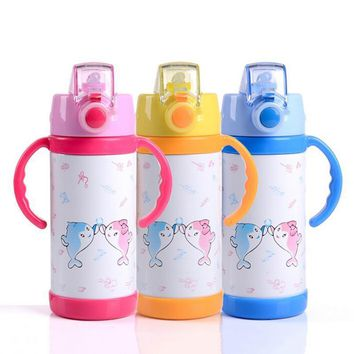 Kids Thermo Water Bottle Straw Cup with Handles