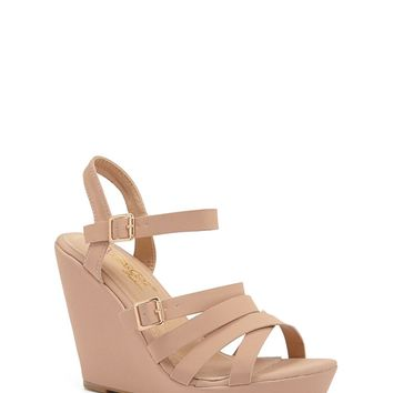 Caged Faux Leather Wedges