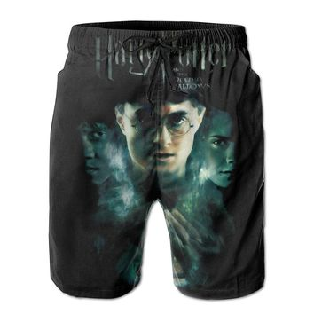 Harry Potter And Deathly Hallows Poster Mens Fashion Casual Beach Shorts