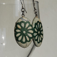 Green Paper Earrings Dangle Oval Mint Earrings Flower Design Hypoallergenic hooks Lightweight Ear rings