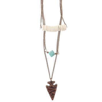 Women's JWest and Company 3 Layer Burnished Copper Necklace