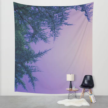 Lavender Skies, Green Trees Wall Tapestry by DuckyB (Brandi)