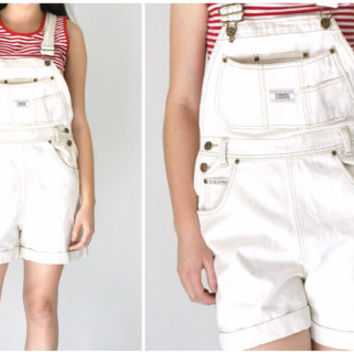 white DENIM overalls shorts vintage early 90s GRUNGE relaxed fit pale JEAN dungarees shortalls medium