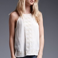 House of Harlow High-Neck Embroidered Tank Top - Womens Shirts - White