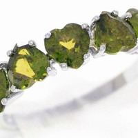 3 Carat Peridot Heart Ring .925 Sterling Silver Rhodium Finish
