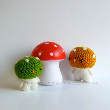 Mushroom amigurumi mohair, mushroom toy  -Set of two ,plush toy, art doll, gift