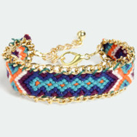 Friends Forever Gold and Blue Woven Friendship Bracelet
