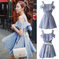 Bow Tie  Detail Short Sleeve Mini Dress