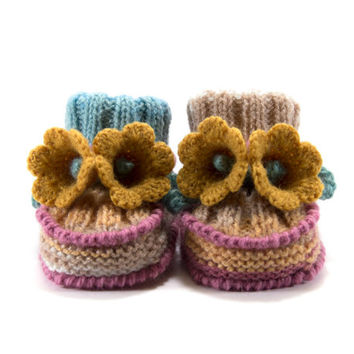Baby Booties, Knitted with Crochet Bell Flowers - Light Brown, Blue and Pink, 3 - 6 months