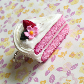 pretty floral strawberry polymer clay cake charm, dust plug, key chain, key ring,