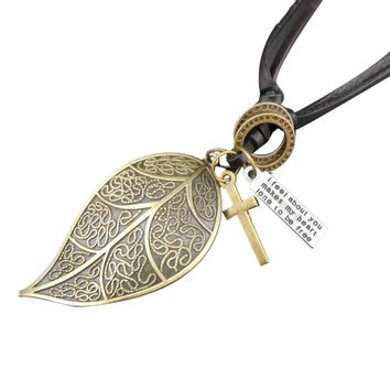 Influx Men And Women Retro Leather Leaf Necklace Leather Cord Necklace GD