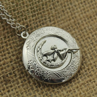 fairy maiden fairytale silver locket necklace Antique personalized jewelry steampunk Unique gift vintage bronze