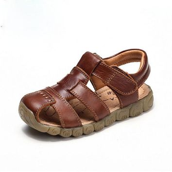 2017 New 4 Designs Boys Soft Leather Sandals Baby Boys Summer Prewalker Soft Sole Genuine Leather Beach Sandals Size 21-36,YJ028
