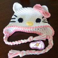 Crochet Hello Kitty baby hat with earflap size 0-6months