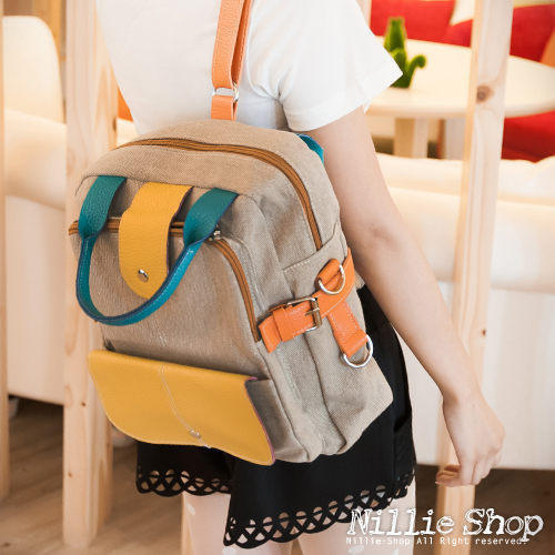 YESSTYLE: Nillie Shop- Convertible Color-Block Satchel (Blue - One Size) - Free International Shipping on orders over $150