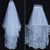 Elbow Length White/Ivory 2T Double Tiered Wedding Bridal Veil with beads